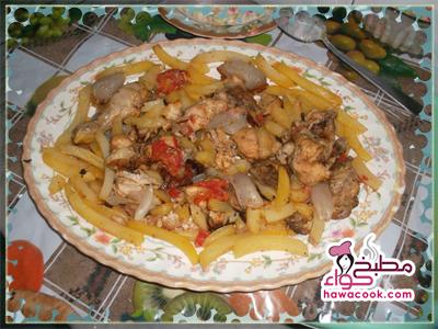 صينية الدجاج مع البطاطس والبصل