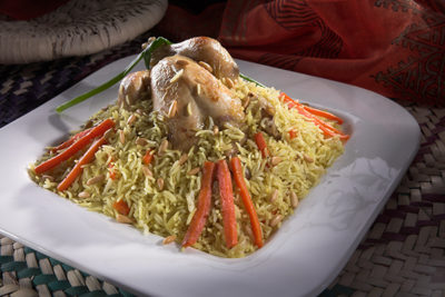 ارز اللحمة بمبشور البطاطا والجزر