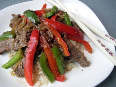 ارز الفليفلات باللحم والصويا